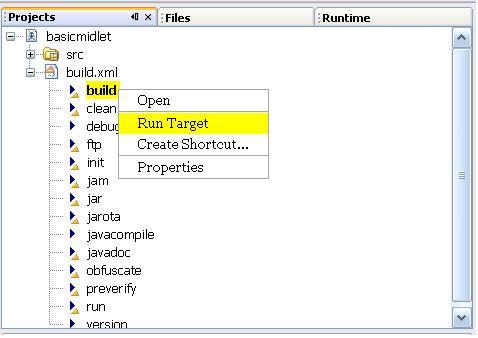 NetBeans 5 Select Build Task