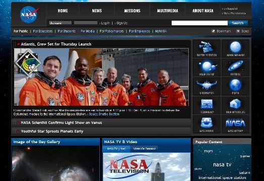 New NASA website